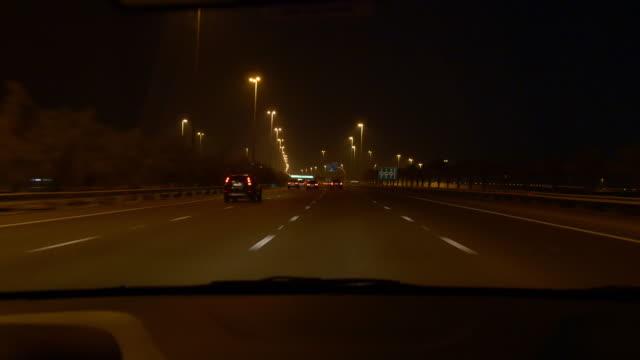 abu dhabi dubai road trip night front mirror panorama 4k united arab emirates video