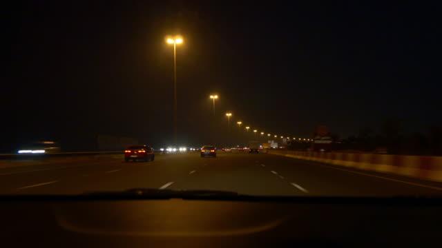 abu dhabi dubai road trip night front panel panorama 4k united arab emirates video