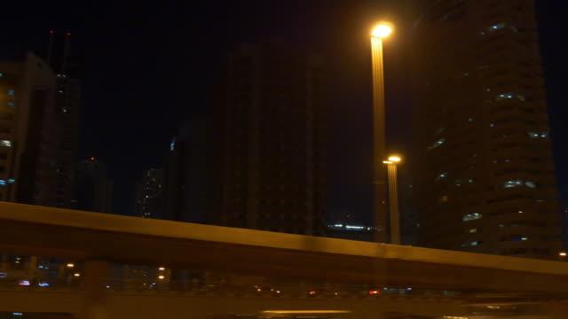 abu dhabi dubai road trip night junction panorama 4k united arab emirates video