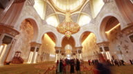 abu dhabi famous main mosque crowded inside 4k time lapse united arab emirates video