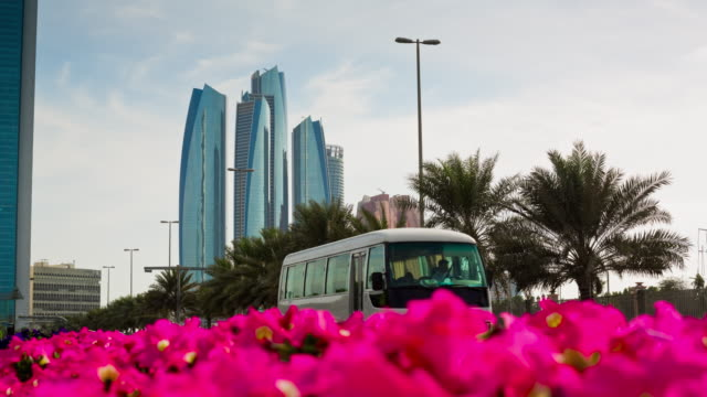 abu dhabi famous traffic road downtown flowers panorama 4k time lapse uae video