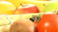 accumulation of fruits and vegetable white isolated video