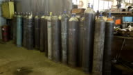 Acetylene and gas steel storage tanks video