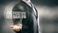 Achieve Results Businessman Holding in Hand New technologies video