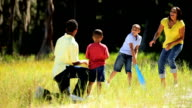 Active Ethnic Family Playing Baseball in Park video