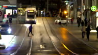 Active life in megalopolis, modern public transport, busy pedestrians in street video