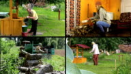 Active peasant people work in village. Video clips collage. video