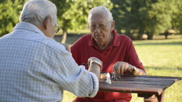 Active retired people, two senior friends playing chess at park video