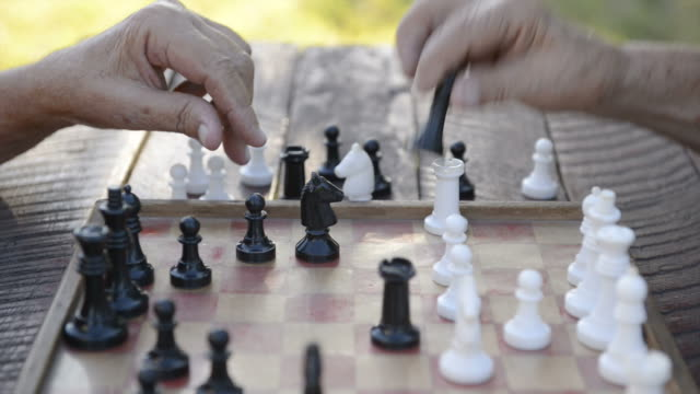 Active retired people, two senior men playing chess at park video