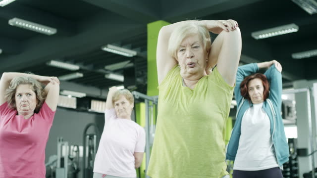 Active senior women in the gym video
