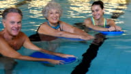Active seniors at water fitness video
