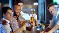 Activities of real men in a bar with beer video