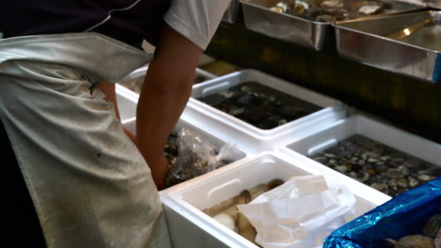 Activity at fish market in Tokyo video