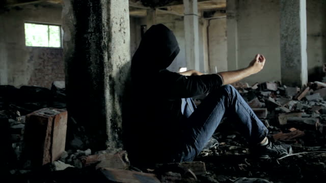 Addicted Runaway Youth in Abandoned Building HD video