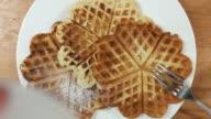 Adding sugar to waffles video