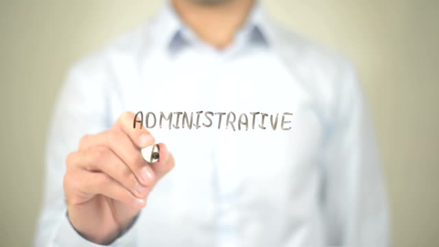 Administrative Assistant, Man writing on transparent screen video