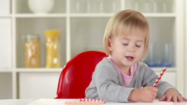 HD: Adorable Baby Having Fun While Drawing video