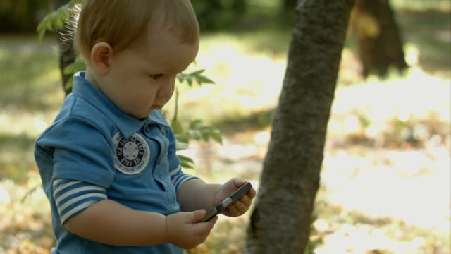 Adorable baby watching cartoon on smartphone in park video