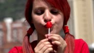 Adorable Female Teen Redhead With Lollipop video