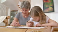 HD: Adorable Girl Drawing With Her Grandmother video