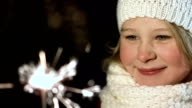 Adorable Girl With A Sparkler video