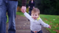 Adorable little boy holding his dad's hand while walking in a park on a fall day video