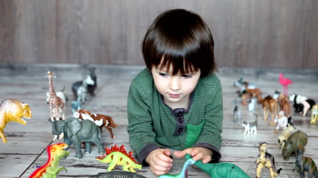 Adorable little boy, playing with plastic animals and dinosaurs on the floor video