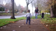 Adorable little boy walking toward his mom in a park on a fall day video
