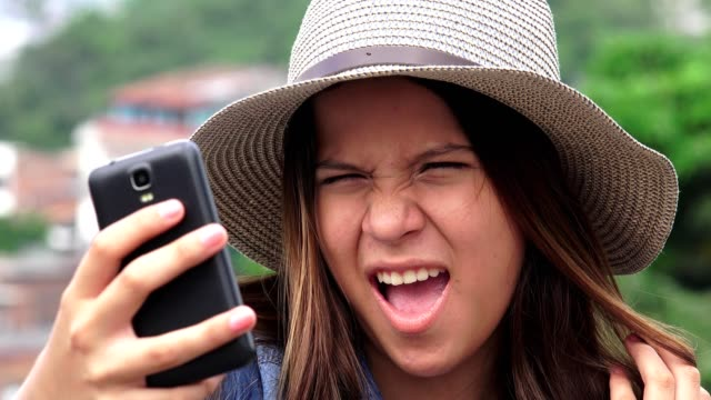 Adorable Teen Girl Making Selfies And Funny Faces video