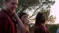 Adult friends socialising at a party on a rooftop at sunset, shot on R3D video