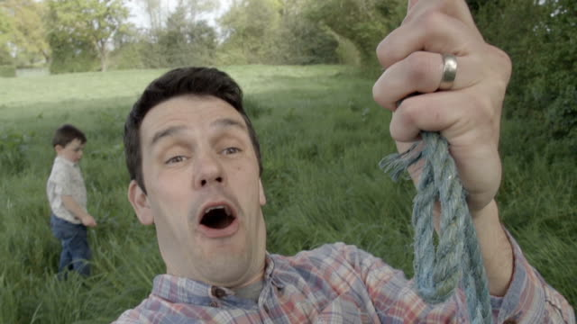 Adult Male On A Rope Swing Finding His Inner Child video