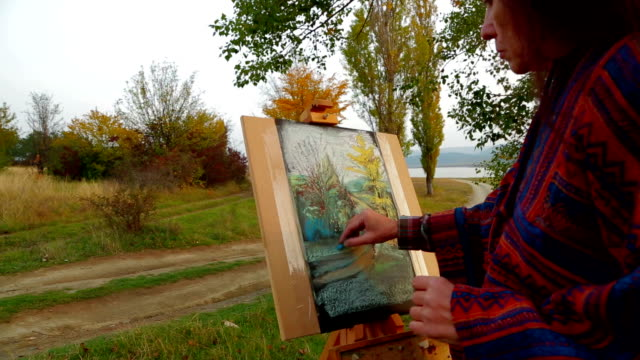 Adult Woman Drawing A Picture At Plein Air video