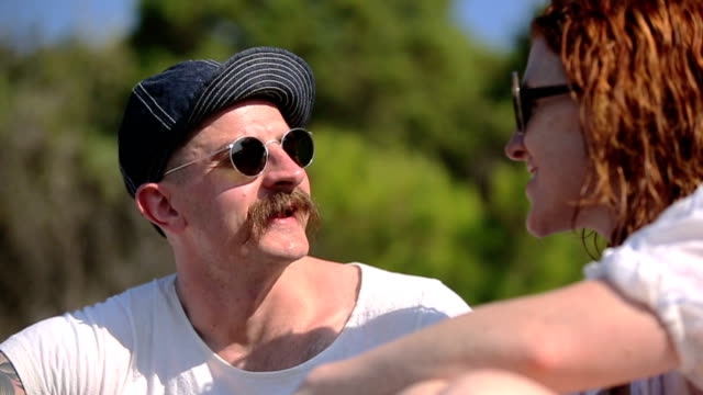 SLOW MOTION: Adults love looking at each other and talk. video