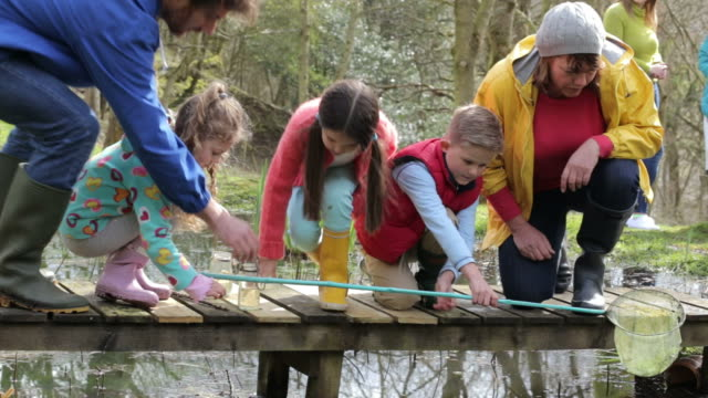 Adults With Children On Bridge At Outdoor Activity Centre video