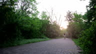 Adventurous mountain biker riding a park track on a trail ride at sunrise video