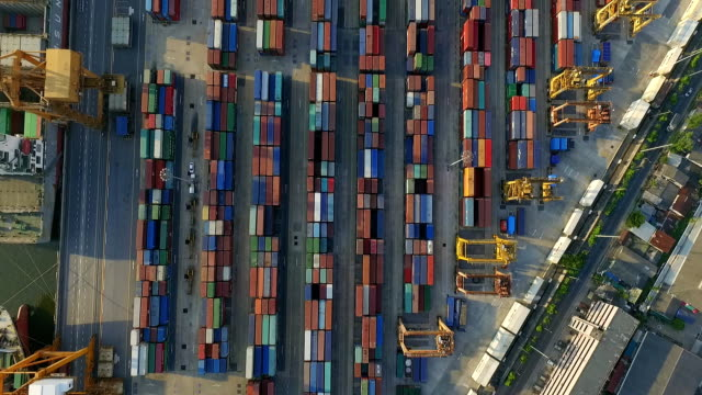 Aerail view of cargo container video
