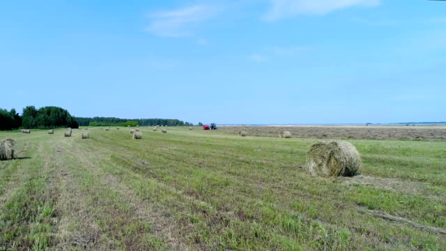 Aerial: A field with many haystacks and a tractor collects hay. video