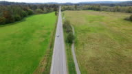 Aerial Above Car Isolated Green Valley Road video