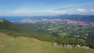 Aerial above mountains in Hondarriba, border France and Spain, Spain video