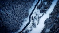 Aerial Above River In Frozen Wilderness video