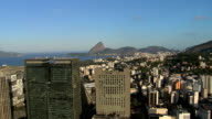 Aerial above the city buildings and Sugar Loaf Mountain,Rio de Janeiro video