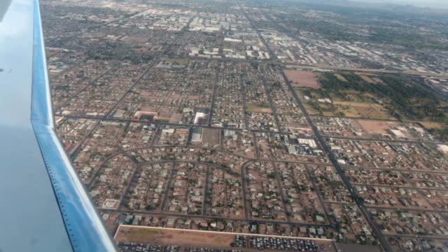 Aerial airline approach Phoenix Arizona housing HD video