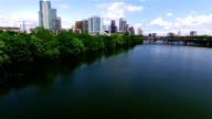 Aerial Along the Shores of the Colorado River at Austin Texas Town Lake video