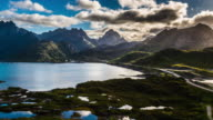 Aerial arctic landscape at the Lofoten Islands in Norway video