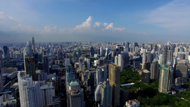 Aerial: Bangkok with a bird's eye view. Business center and traffic. video
