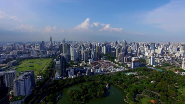 Aerial: Bangkok with a bird's eye view. Park, golf course and business center. video