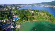 Aerial, Beautiful Austrian landscape, Traunsee Gmunden video