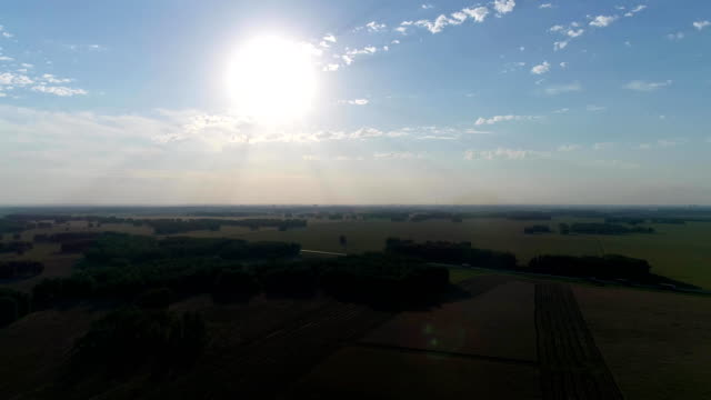 Aerial: Beautiful fields and forests in sun glare near the transport road. video