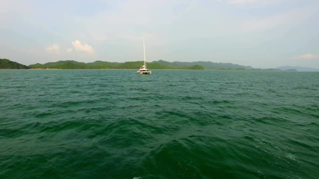 Aerial: Beautiful luxury yaht sailing in Andaman sea. Thailand. Phuket. video