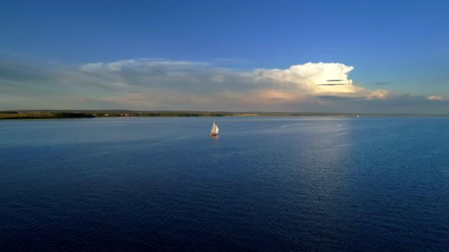Aerial: Beautiful luxury yaht sailing in sea. video